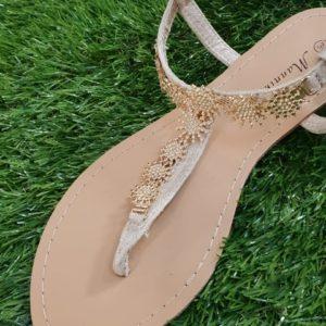Sandali con strass oro